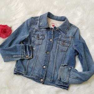 Mossimo Blue Distressed Denim Jean Jacket Large L